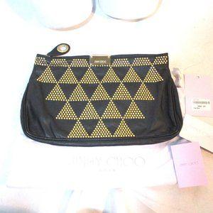 NEW JIMMY CHOO STUD PYRAMID Leather Clutch Bag